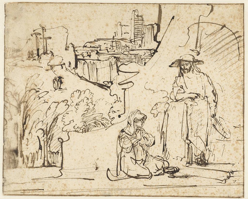 Rijksmuseum Ferdinand Bol tekening Christus verschijnt als tuinman aan Maria Magdalena